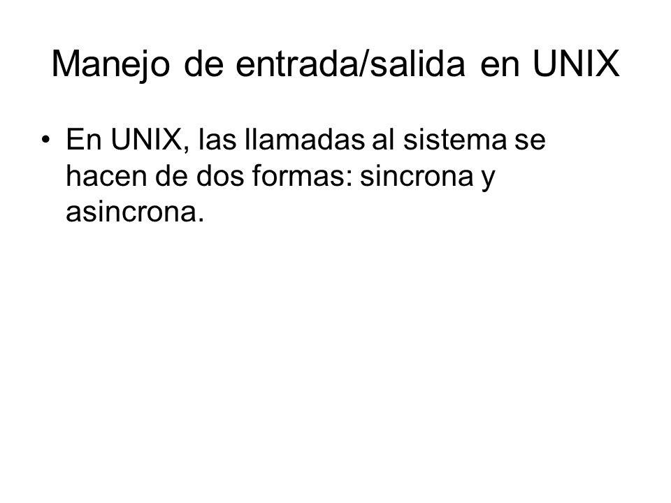 Manejo de entrada/salida en UNIX
