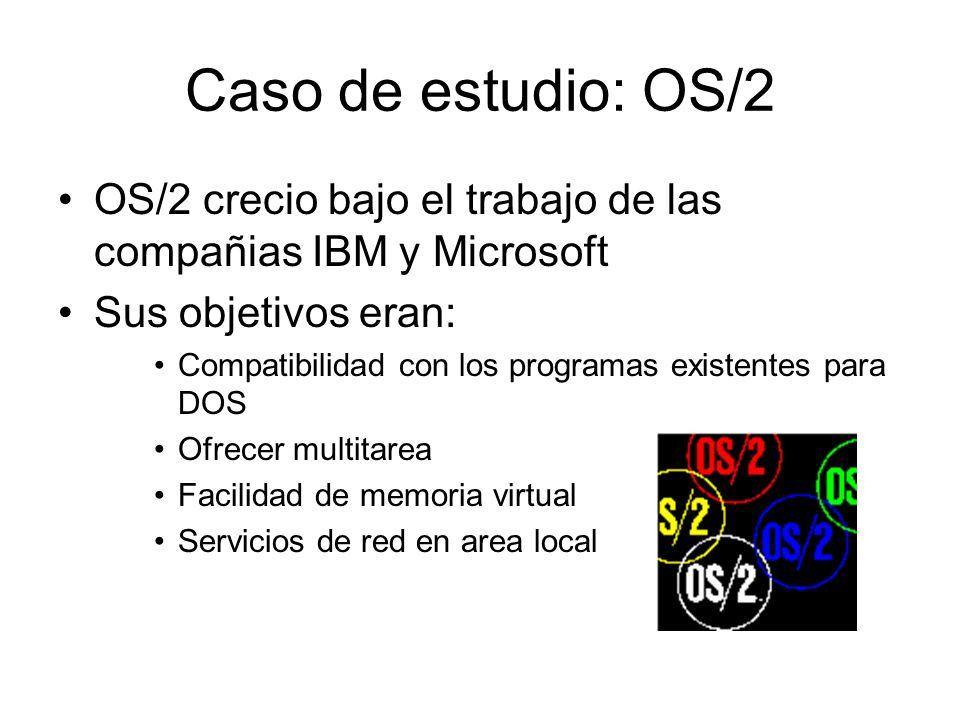 Caso de estudio: OS/2 OS/2 crecio bajo el trabajo de las compañias IBM y Microsoft. Sus objetivos eran: