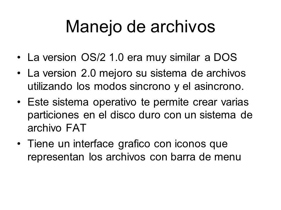 Manejo de archivos La version OS/2 1.0 era muy similar a DOS