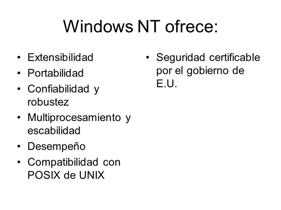 Windows NT ofrece: Extensibilidad Portabilidad