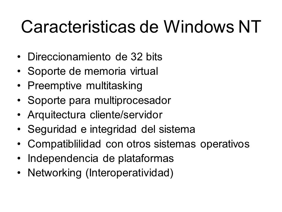Caracteristicas de Windows NT