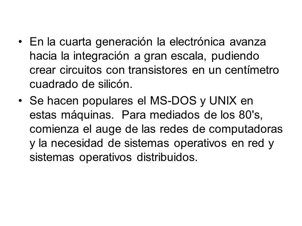 En la cuarta generación la electrónica avanza hacia la integración a gran escala, pudiendo crear circuitos con transistores en un centímetro cuadrado de silicón.