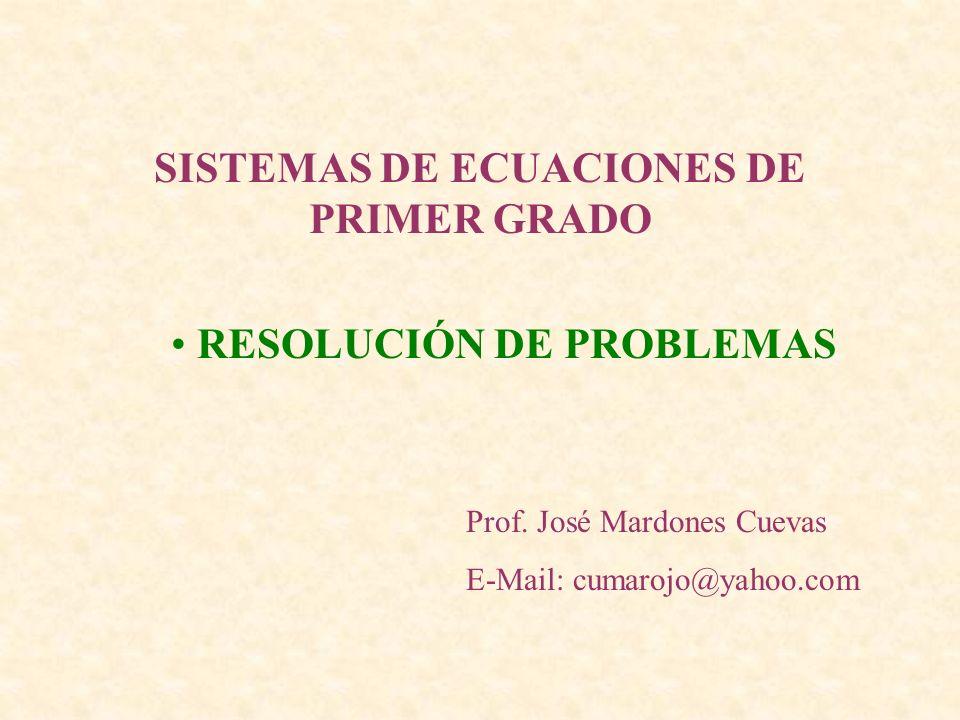 SISTEMAS DE ECUACIONES DE PRIMER GRADO RESOLUCIÓN DE PROBLEMAS