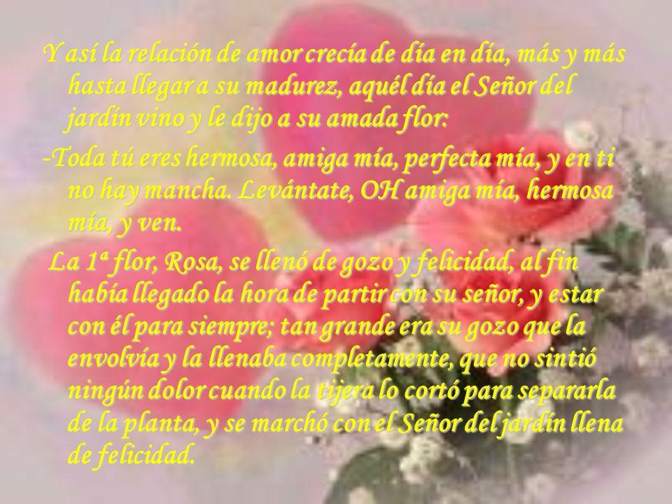 Y así la relación de amor crecía de día en día, más y más hasta llegar a su madurez, aquél día el Señor del jardín vino y le dijo a su amada flor: