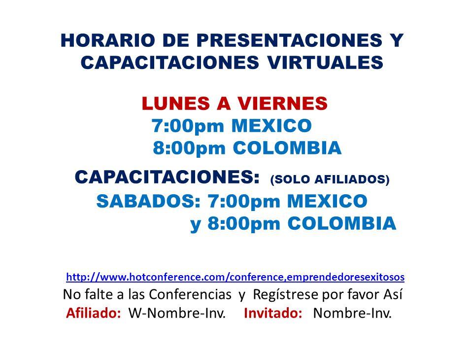 HORARIO DE PRESENTACIONES Y CAPACITACIONES VIRTUALES