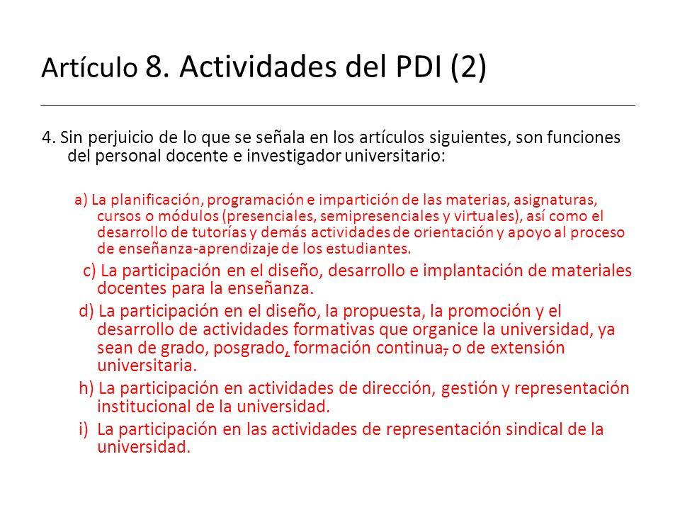Artículo 8. Actividades del PDI (2)