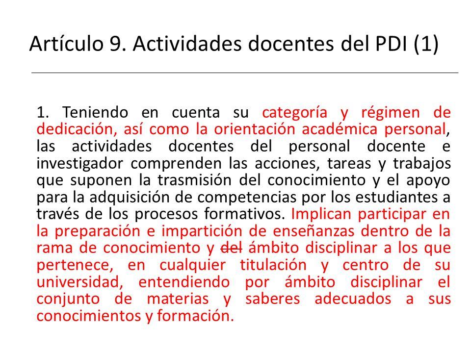 Artículo 9. Actividades docentes del PDI (1)