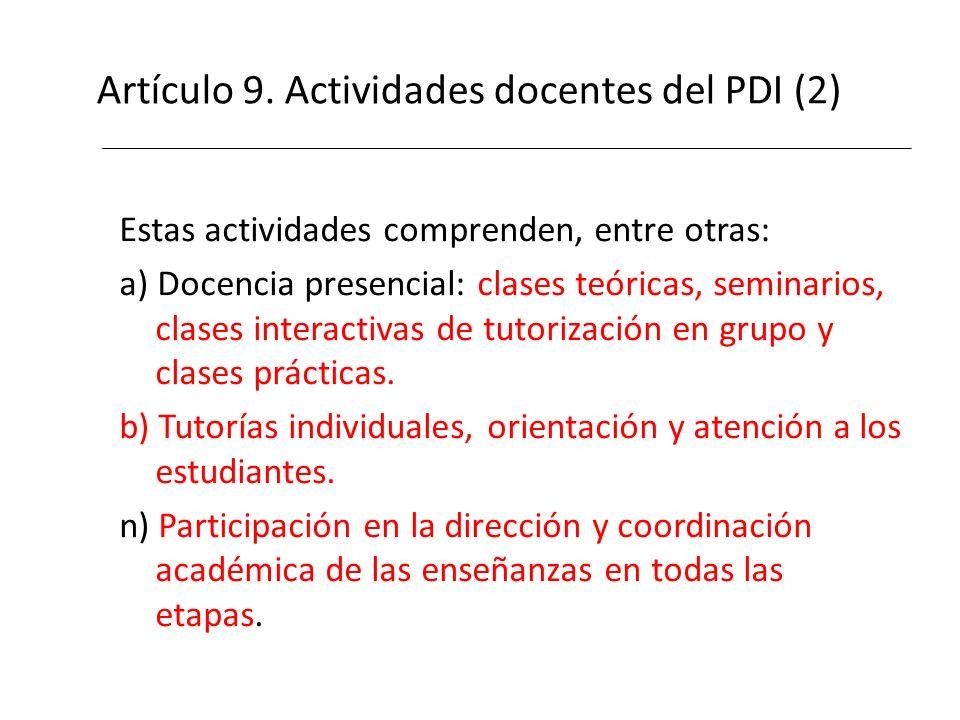 Artículo 9. Actividades docentes del PDI (2)