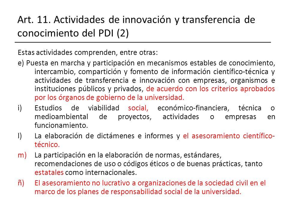 Art. 11. Actividades de innovación y transferencia de conocimiento del PDI (2)