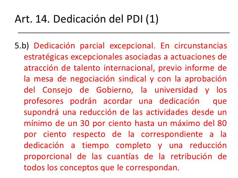 Art. 14. Dedicación del PDI (1)