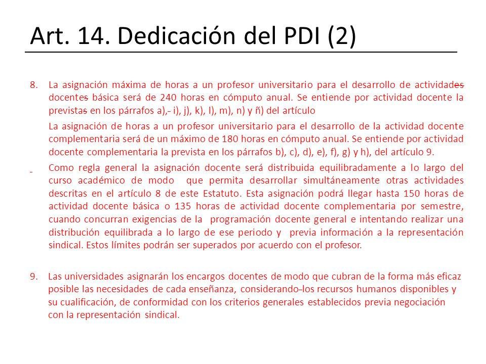Art. 14. Dedicación del PDI (2)