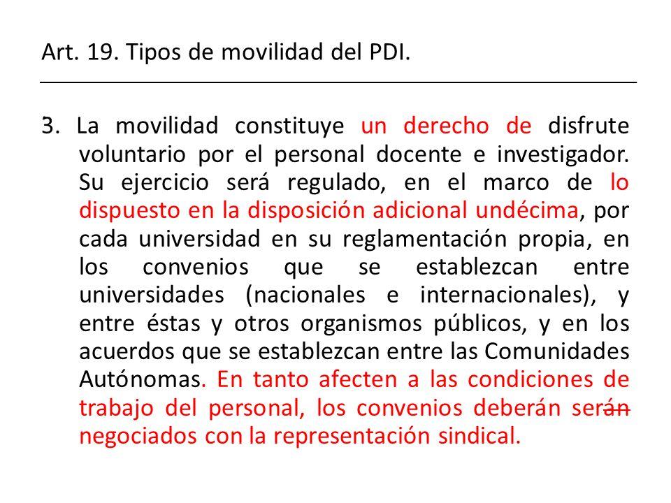 Art. 19. Tipos de movilidad del PDI. .