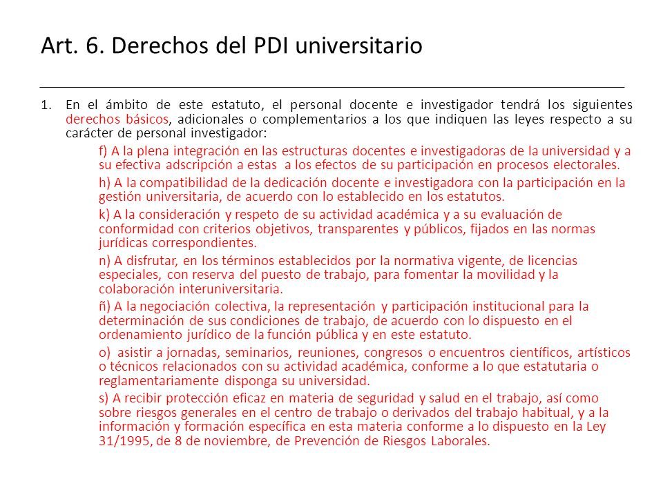 Art. 6. Derechos del PDI universitario
