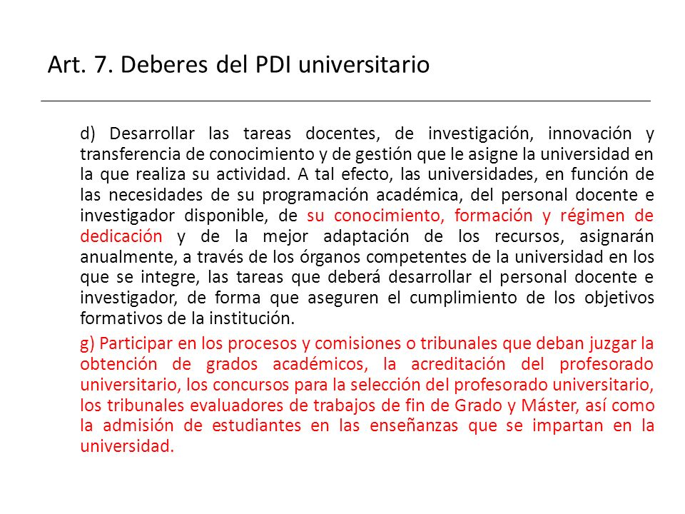 Art. 7. Deberes del PDI universitario