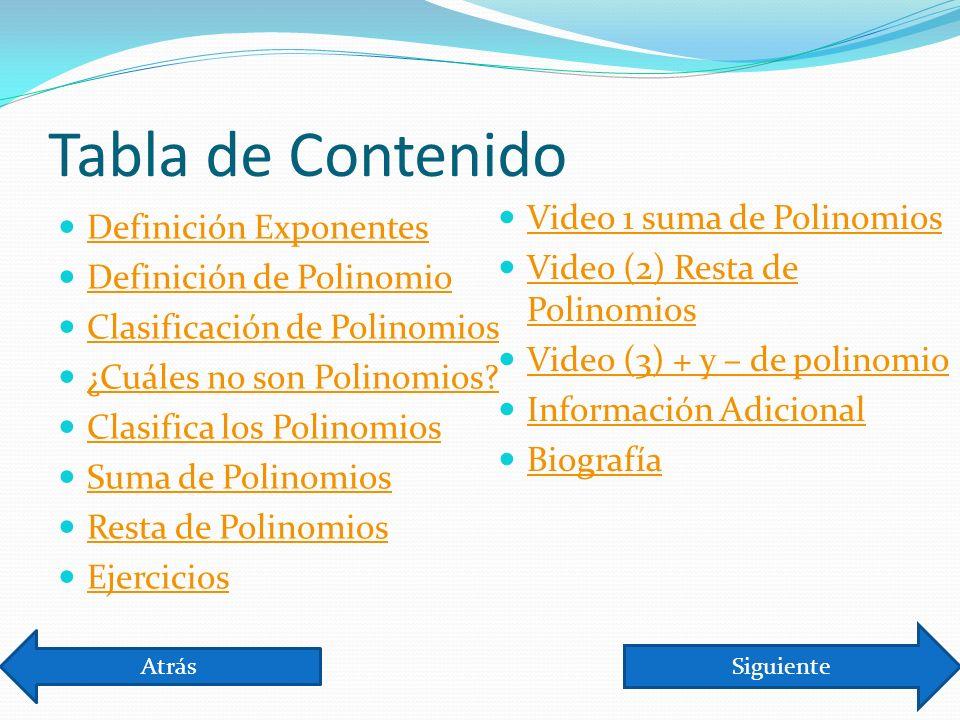 Tabla de Contenido Video 1 suma de Polinomios Definición Exponentes