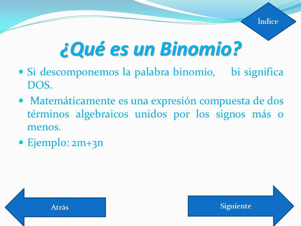 Índice ¿Qué es un Binomio Si descomponemos la palabra binomio, bi significa DOS.
