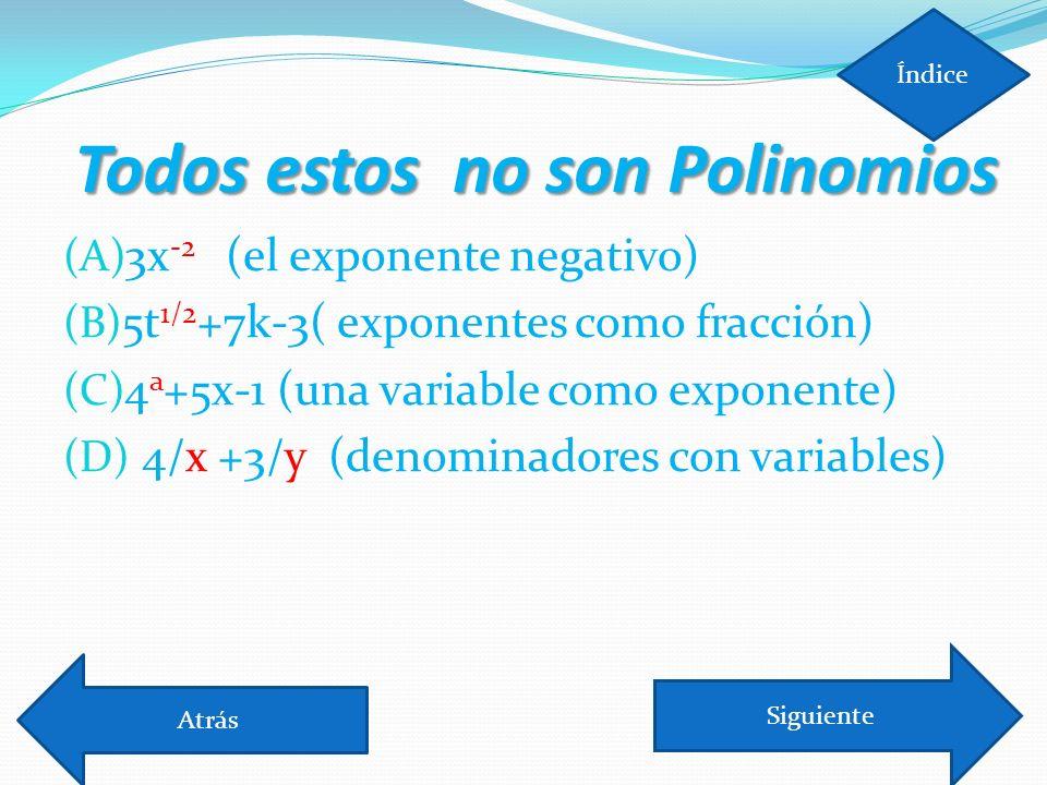 Todos estos no son Polinomios