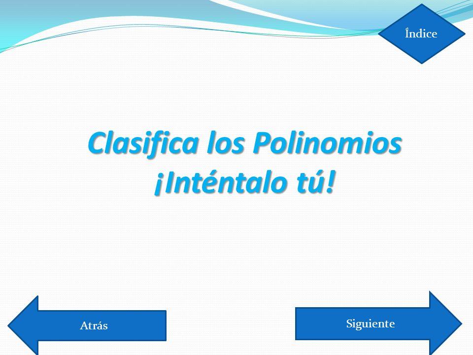 Clasifica los Polinomios ¡Inténtalo tú!