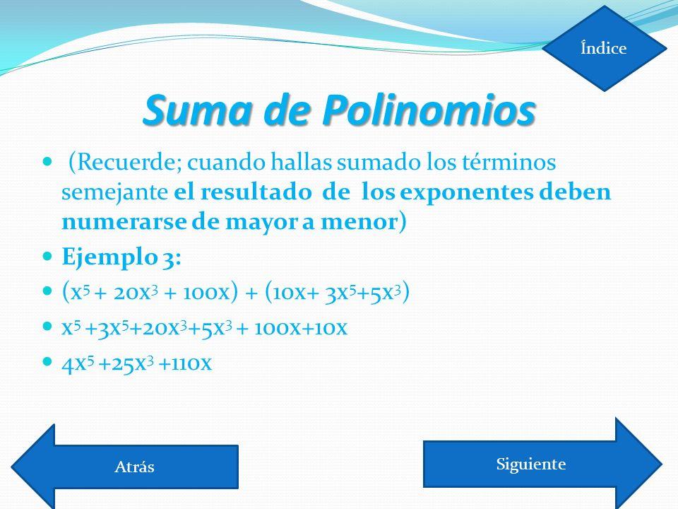 Índice Suma de Polinomios.