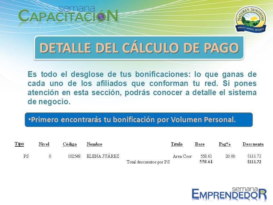 DETALLE DEL CÁLCULO DE PAGO