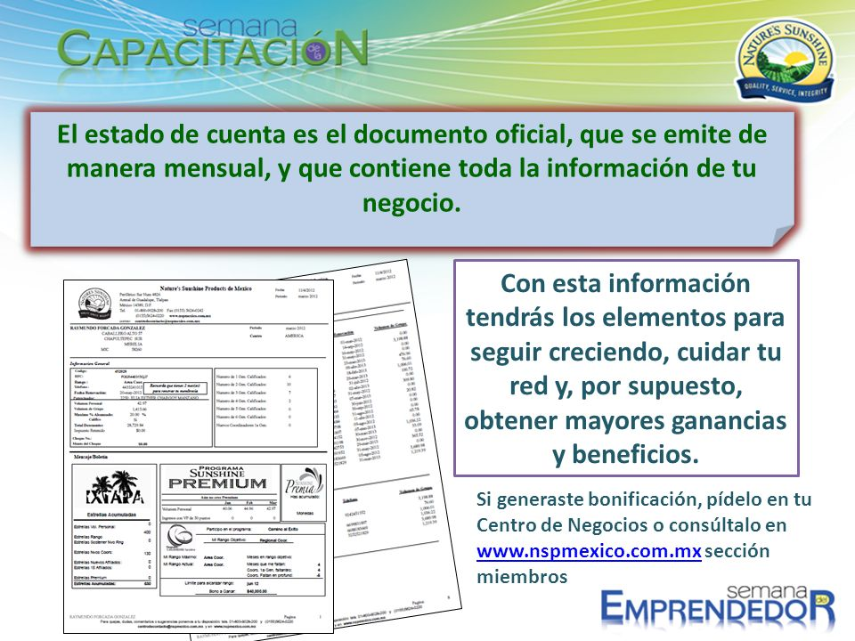 El estado de cuenta es el documento oficial, que se emite de manera mensual, y que contiene toda la información de tu negocio.