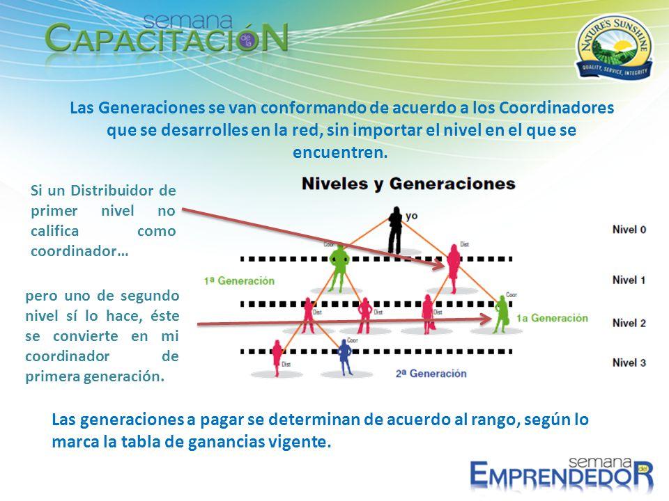 Las Generaciones se van conformando de acuerdo a los Coordinadores que se desarrolles en la red, sin importar el nivel en el que se encuentren.