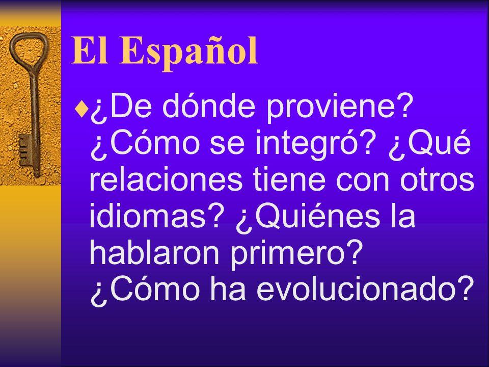 El Español ¿De dónde proviene. ¿Cómo se integró. ¿Qué relaciones tiene con otros idiomas.
