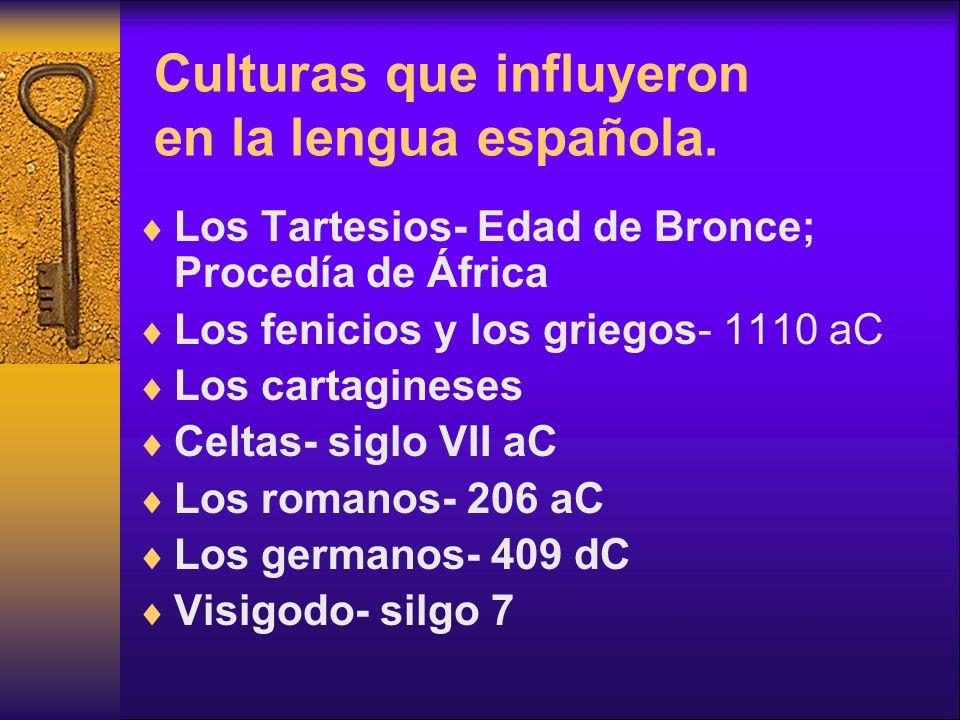 Culturas que influyeron en la lengua española.
