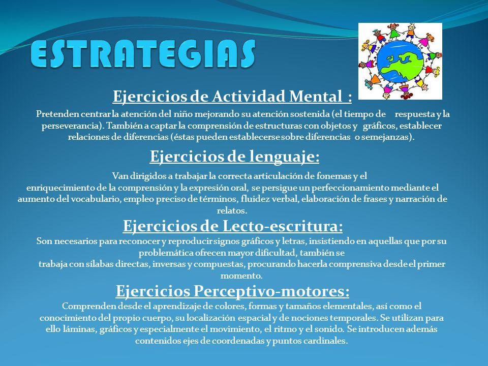 ESTRATEGIAS Ejercicios de Actividad Mental : Ejercicios de lenguaje: