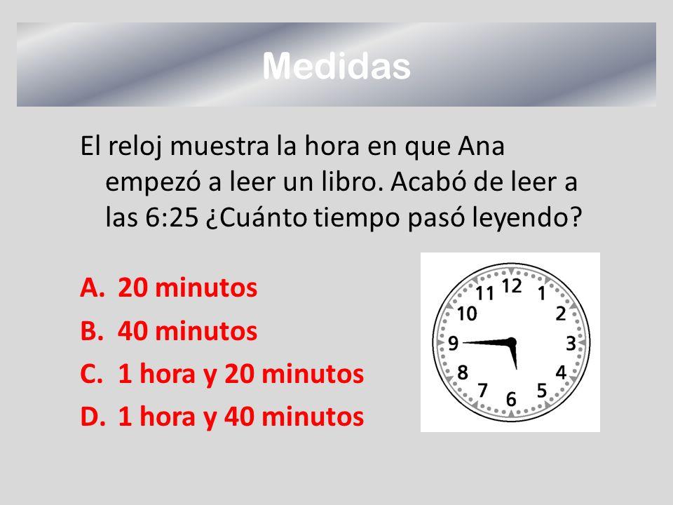 Medidas El reloj muestra la hora en que Ana empezó a leer un libro. Acabó de leer a las 6:25 ¿Cuánto tiempo pasó leyendo