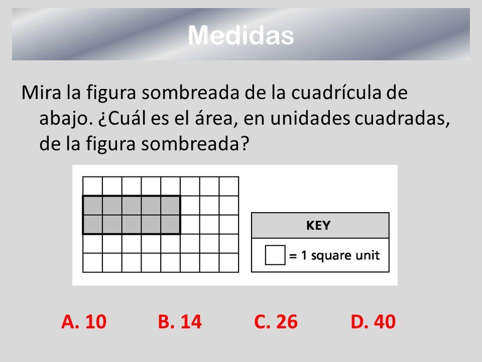 Medidas Mira la figura sombreada de la cuadrícula de abajo. ¿Cuál es el área, en unidades cuadradas, de la figura sombreada