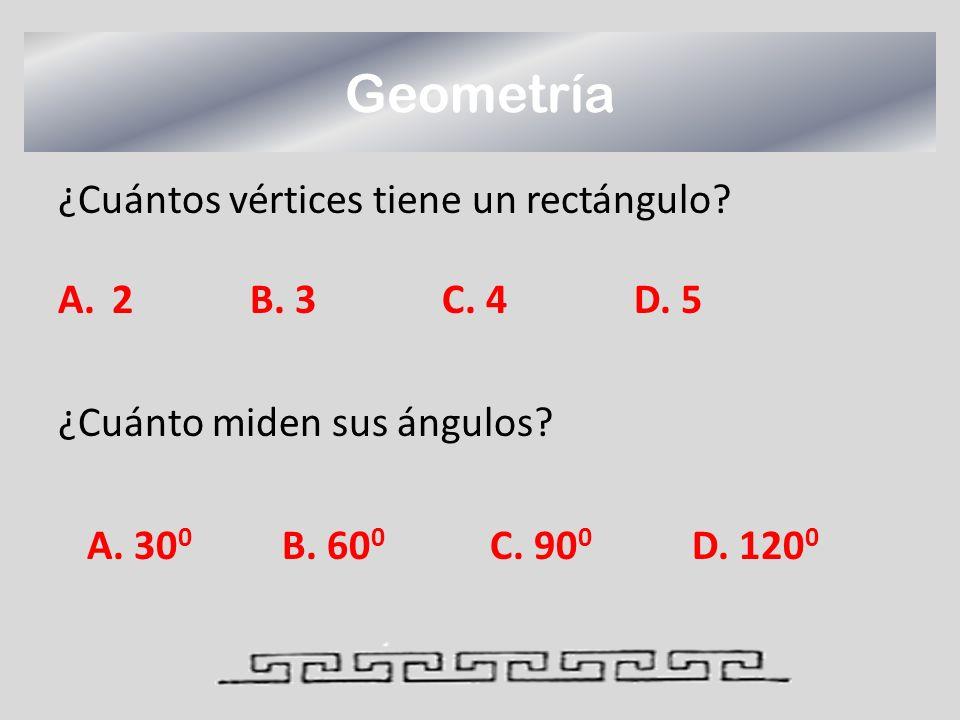 Geometría ¿Cuántos vértices tiene un rectángulo 2 B. 3 C. 4 D. 5
