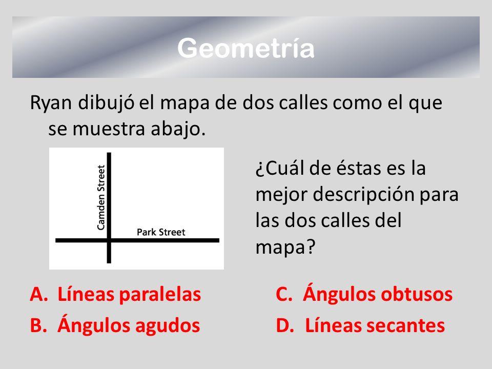 Geometría Ryan dibujó el mapa de dos calles como el que se muestra abajo. Líneas paralelas C. Ángulos obtusos.