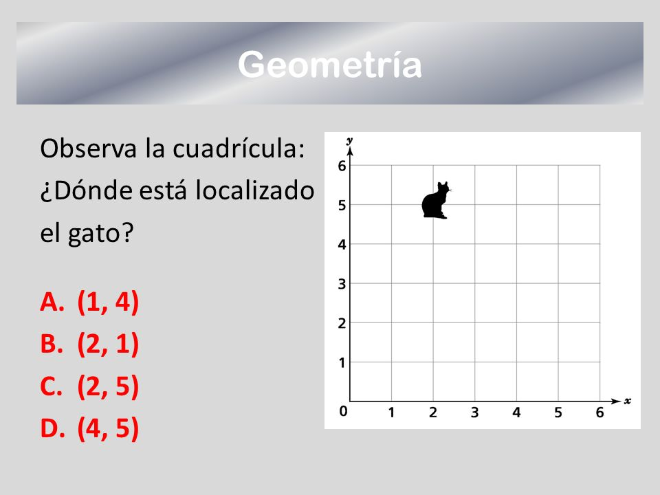 Geometría Observa la cuadrícula: ¿Dónde está localizado el gato