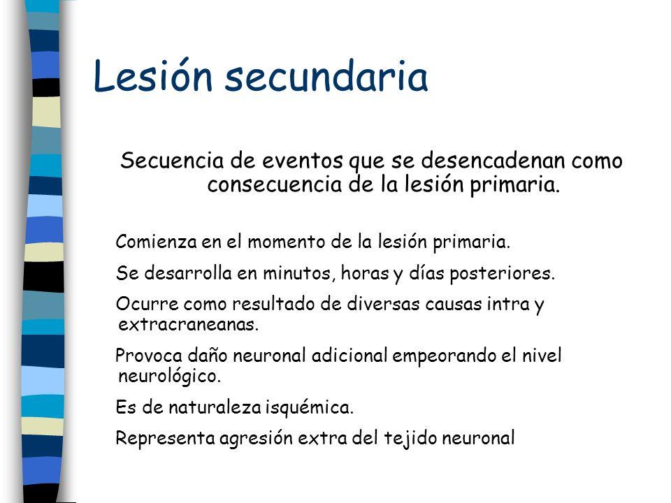 Lesión secundaria Secuencia de eventos que se desencadenan como consecuencia de la lesión primaria.