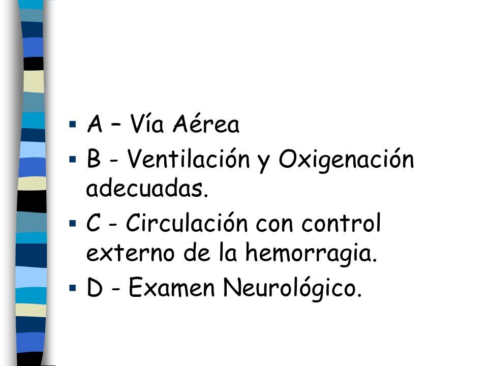 A – Vía Aérea B - Ventilación y Oxigenación adecuadas. C - Circulación con control externo de la hemorragia.