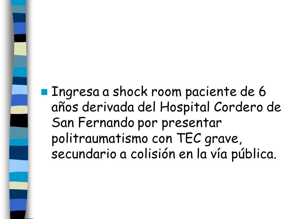 Ingresa a shock room paciente de 6 años derivada del Hospital Cordero de San Fernando por presentar politraumatismo con TEC grave, secundario a colisión en la vía pública.
