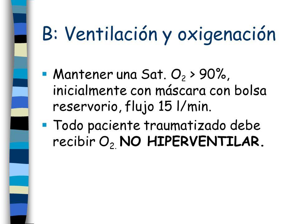 B: Ventilación y oxigenación