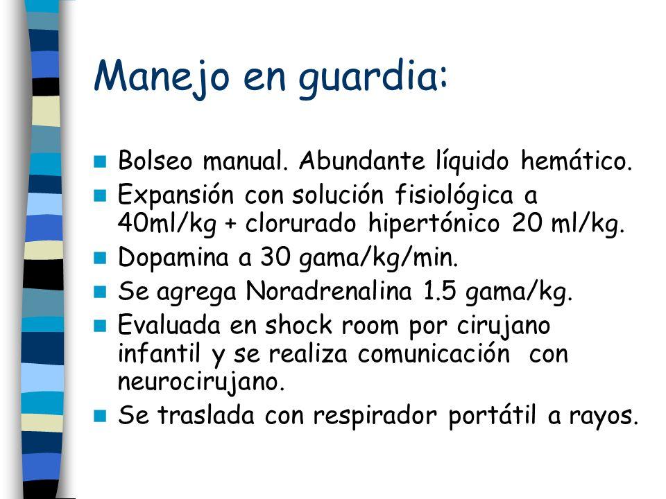 Manejo en guardia: Bolseo manual. Abundante líquido hemático.