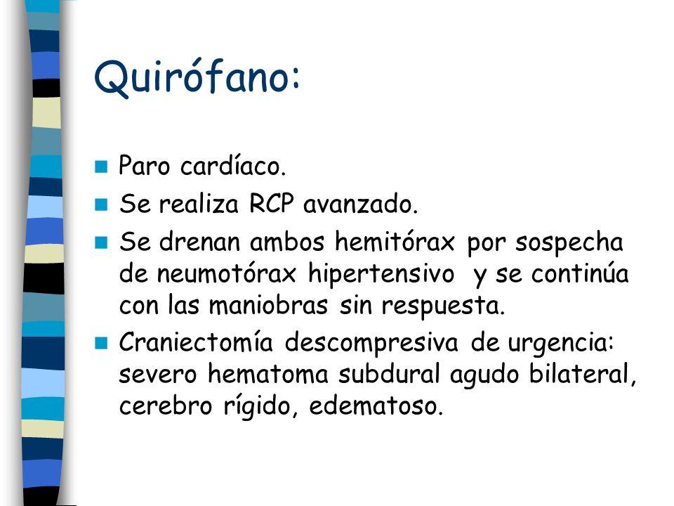 Quirófano: Paro cardíaco. Se realiza RCP avanzado.