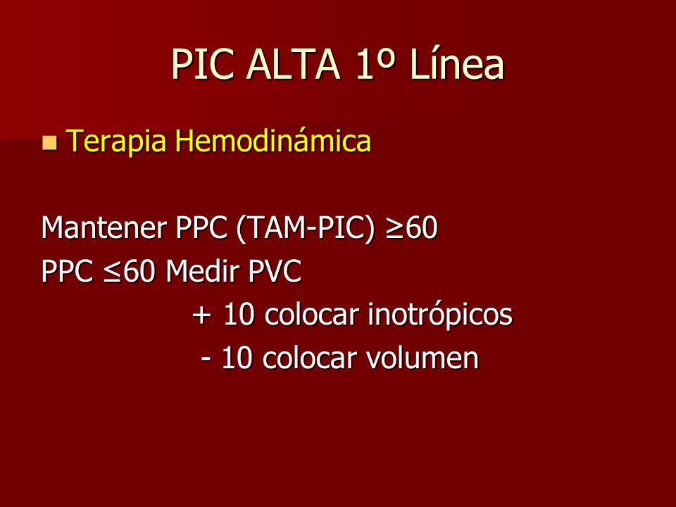 PIC ALTA 1º Línea Terapia Hemodinámica Mantener PPC (TAM-PIC) ≥60