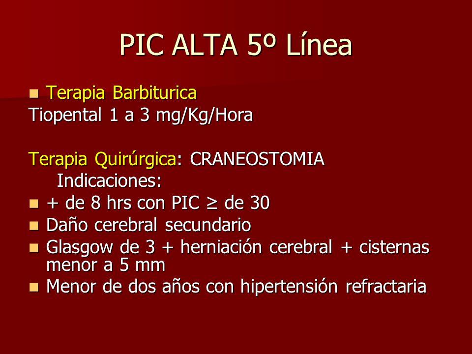 PIC ALTA 5º Línea Terapia Barbiturica Tiopental 1 a 3 mg/Kg/Hora