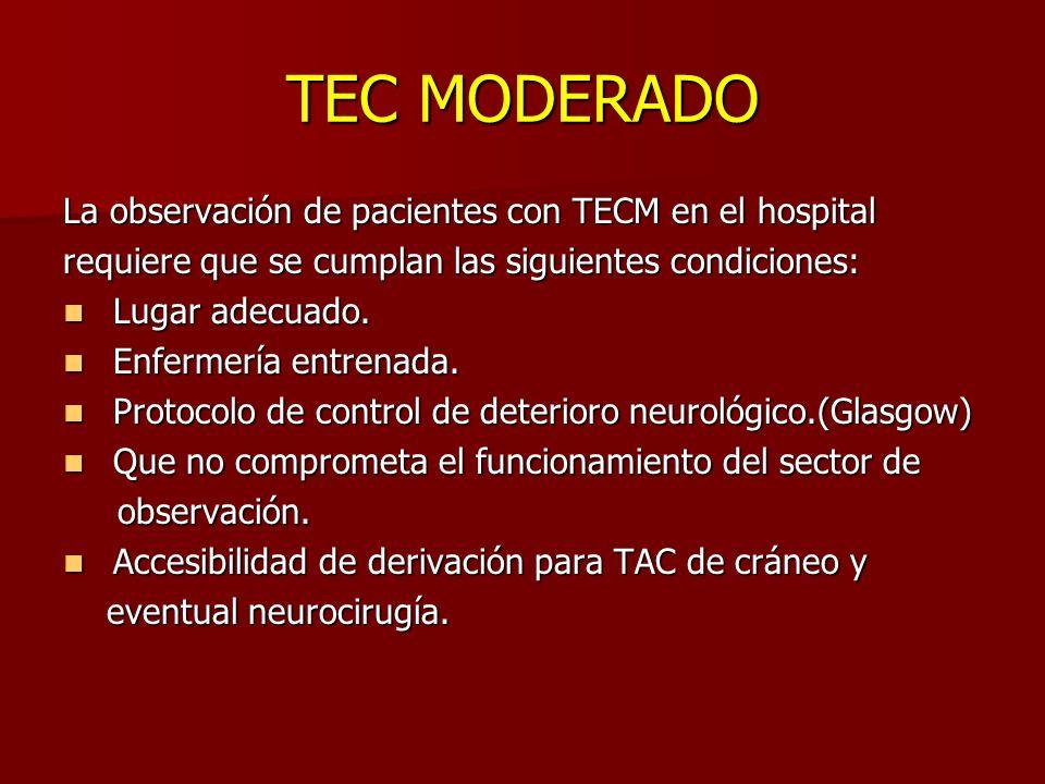 TEC MODERADO La observación de pacientes con TECM en el hospital