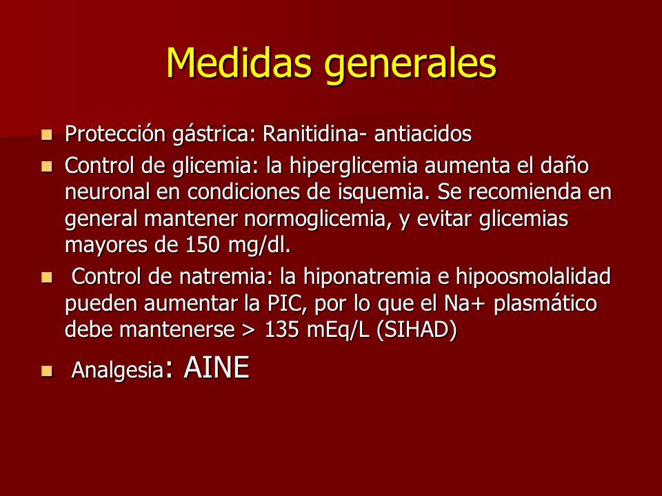 Medidas generales Protección gástrica: Ranitidina- antiacidos