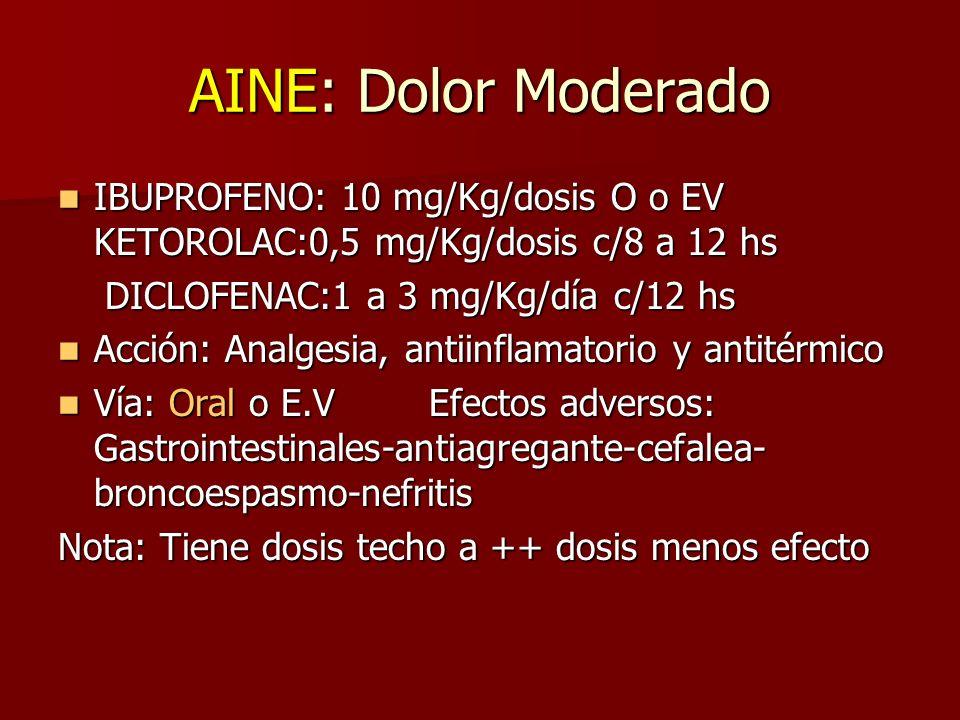 AINE: Dolor Moderado IBUPROFENO: 10 mg/Kg/dosis O o EV KETOROLAC:0,5 mg/Kg/dosis c/8 a 12 hs. DICLOFENAC:1 a 3 mg/Kg/día c/12 hs.