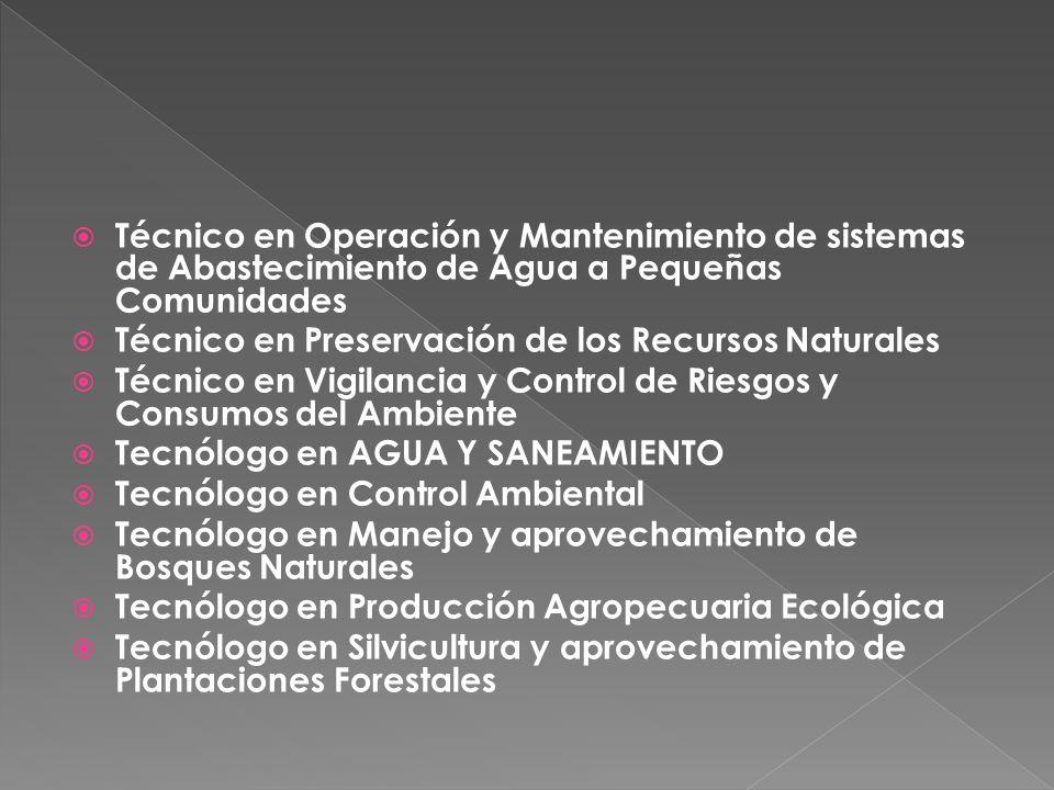 Técnico en Operación y Mantenimiento de sistemas de Abastecimiento de Agua a Pequeñas Comunidades