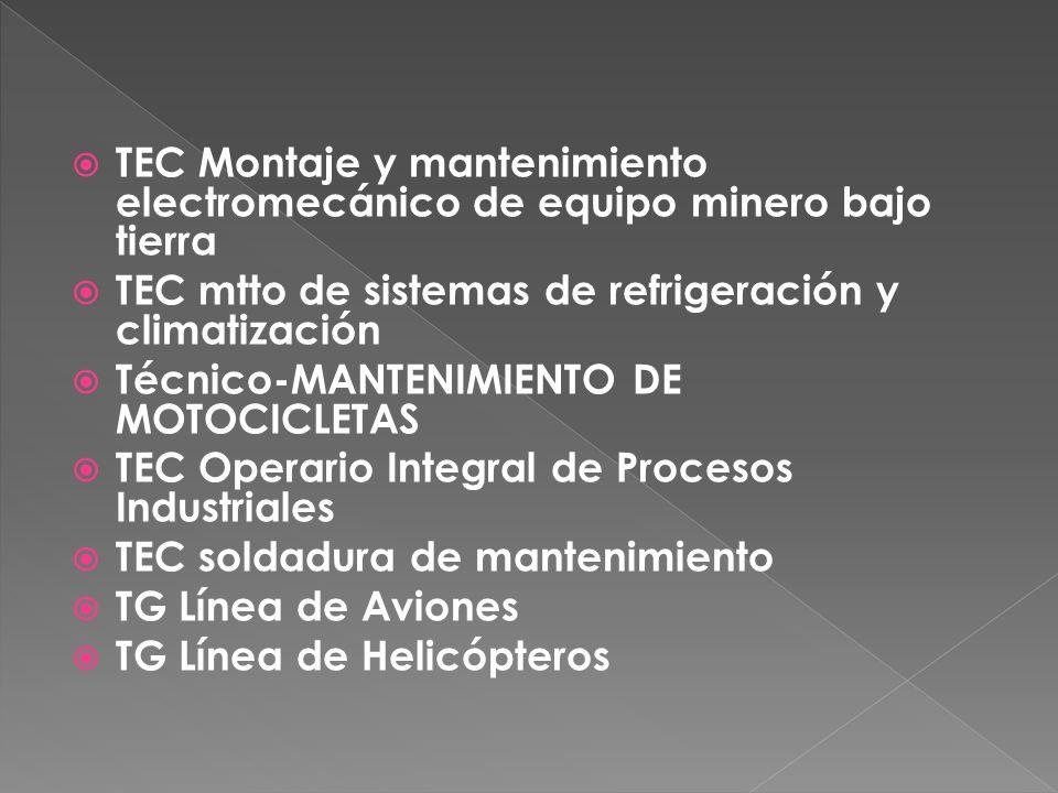 TEC Montaje y mantenimiento electromecánico de equipo minero bajo tierra