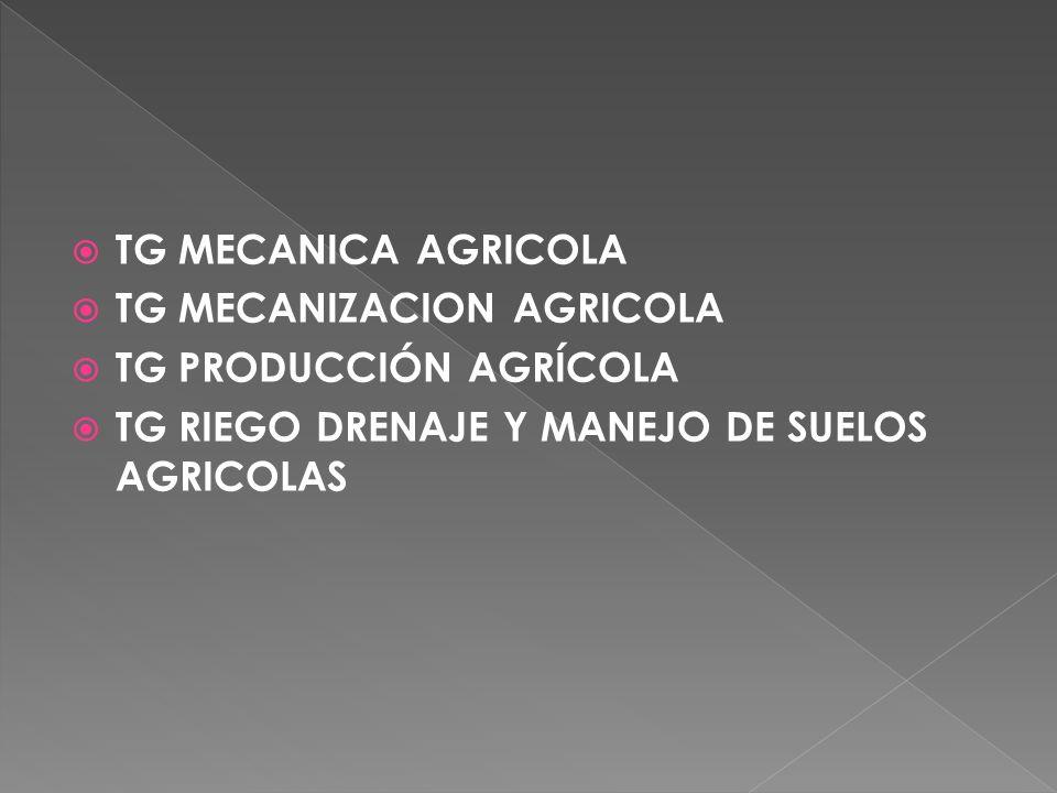 TG MECANICA AGRICOLA TG MECANIZACION AGRICOLA. TG PRODUCCIÓN AGRÍCOLA.