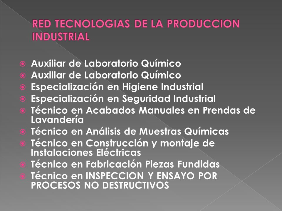 RED TECNOLOGIAS DE LA PRODUCCION INDUSTRIAL