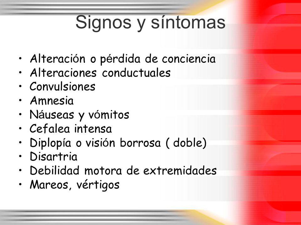 Signos y síntomas Alteración o pérdida de conciencia